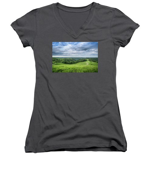 Kentucky Hills And Clouds Women's V-Neck