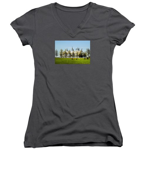 Revised Kentucky Horse Barn Hotel 2 Women's V-Neck T-Shirt (Junior Cut) by Randall Branham