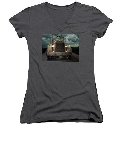 Women's V-Neck T-Shirt (Junior Cut) featuring the digital art Kenworth Old Workhorse by Stuart Swartz