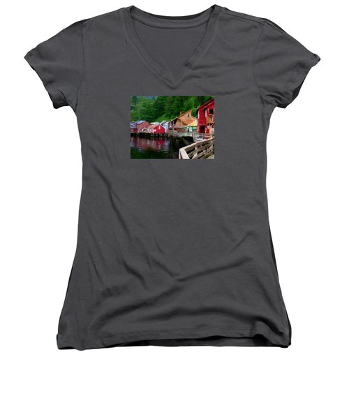 Ketchikan Alaska Women's V-Neck T-Shirt (Junior Cut) by David Hansen