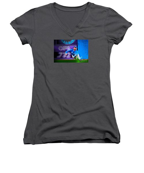 Kevin Pillar In Action II Women's V-Neck T-Shirt (Junior Cut) by Nina Silver
