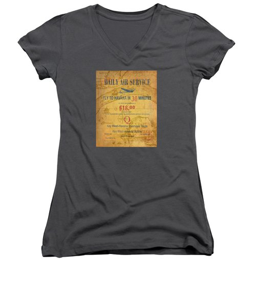 Key West To Havana Women's V-Neck T-Shirt