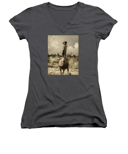 Kid And Cow Women's V-Neck T-Shirt (Junior Cut) by Arik S Mintorogo
