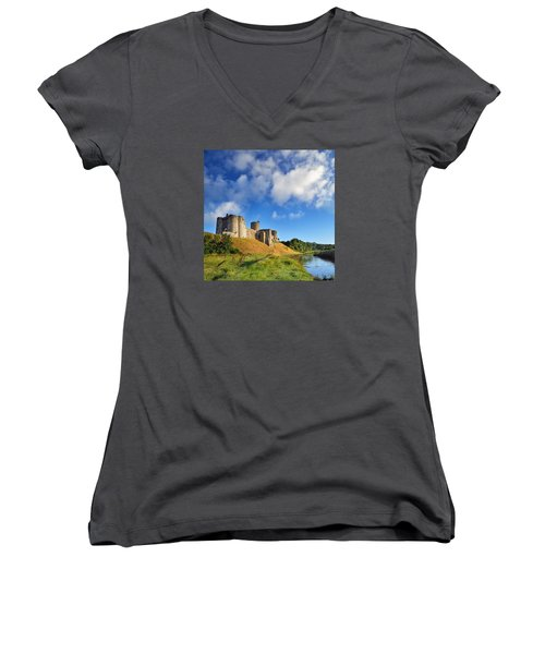 Kidwelly Castle 1 Women's V-Neck (Athletic Fit)