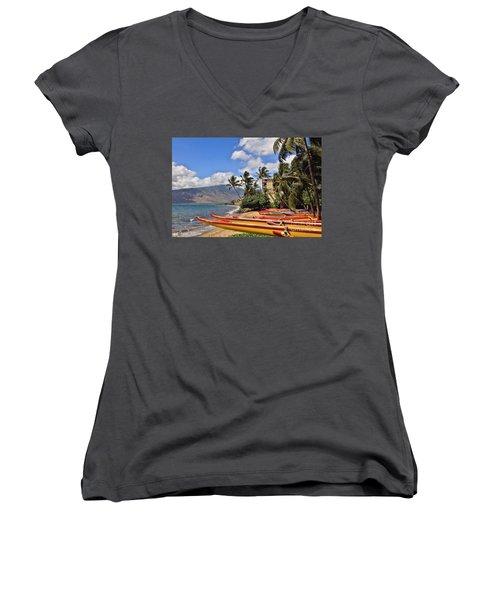 Women's V-Neck T-Shirt (Junior Cut) featuring the photograph Kihei Canoe Maui by DJ Florek