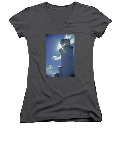 Women's V-Neck T-Shirt (Junior Cut) featuring the photograph Kilauea Lighthouse by Marie Hicks