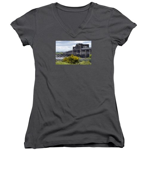 Women's V-Neck T-Shirt (Junior Cut) featuring the photograph Kincardine Bridge by Jeremy Lavender Photography
