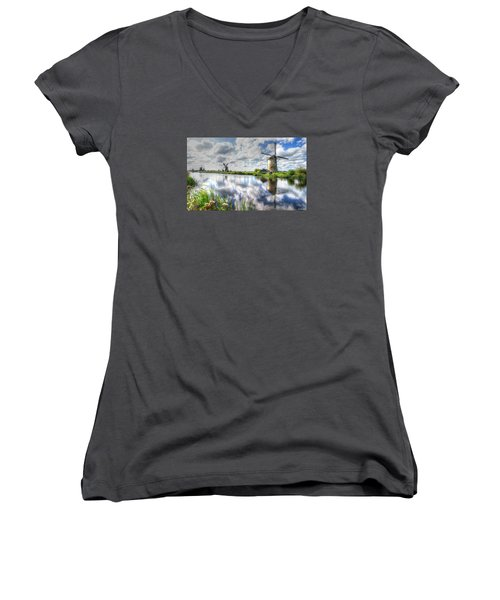 Women's V-Neck T-Shirt (Junior Cut) featuring the photograph Kinderdijk by Uri Baruch