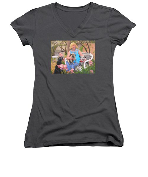 Women's V-Neck T-Shirt (Junior Cut) featuring the painting Kindred Spirits by Donelli  DiMaria