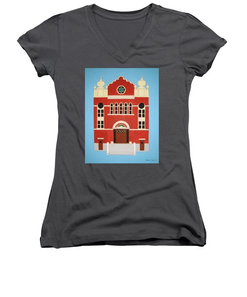 Women's V-Neck T-Shirt (Junior Cut) featuring the painting King Edward Street Shul by Stephanie Moore