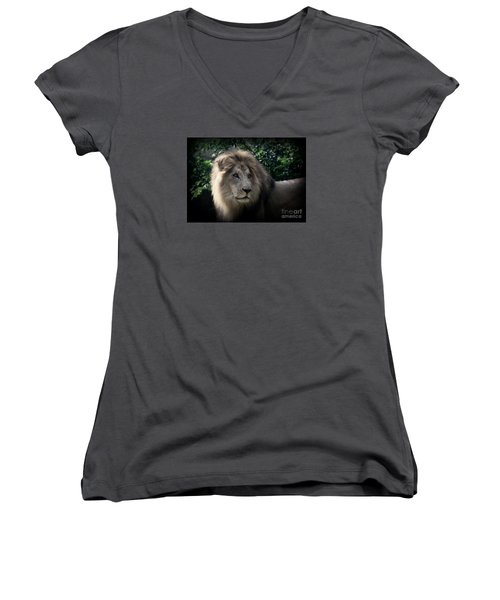 Women's V-Neck T-Shirt (Junior Cut) featuring the photograph King Kamau by Lisa L Silva