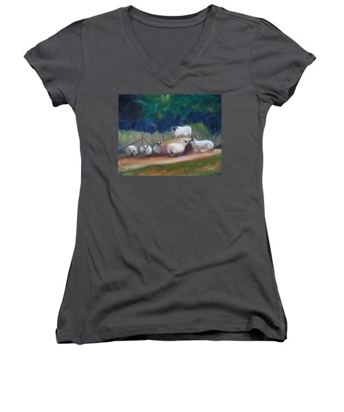 Women's V-Neck T-Shirt (Junior Cut) featuring the painting King Of Green Hill Farm by Donna Tuten