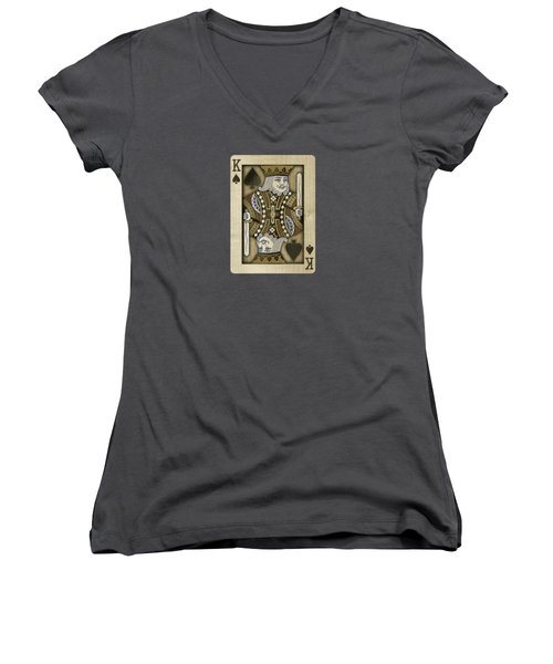 King Of Spades In Wood Women's V-Neck T-Shirt (Junior Cut) by YoPedro