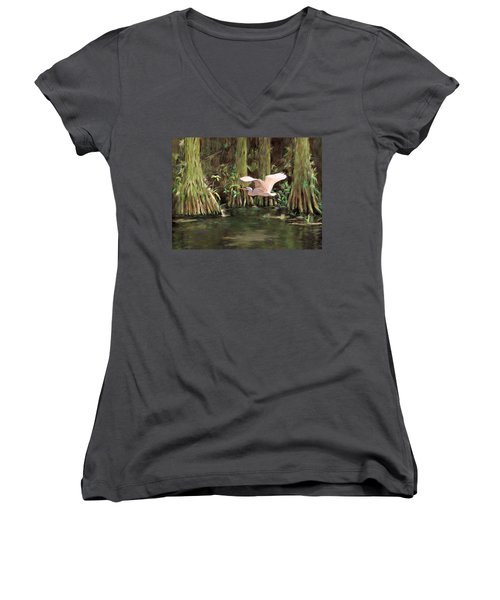 King Of The Swamp Women's V-Neck T-Shirt (Junior Cut) by David  Van Hulst