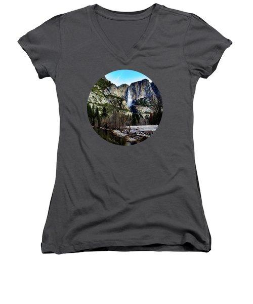 King Of Waterfalls Women's V-Neck T-Shirt (Junior Cut) by Adam Morsa