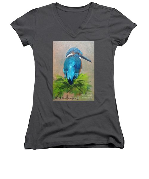 Kingfisher Bird Women's V-Neck T-Shirt (Junior Cut)