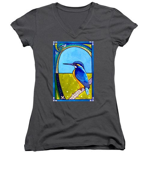 Kingfisher Women's V-Neck T-Shirt (Junior Cut) by Dora Hathazi Mendes