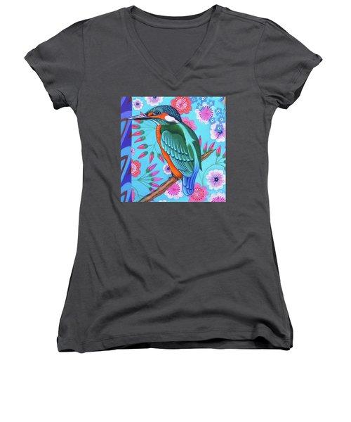 Kingfisher Women's V-Neck T-Shirt (Junior Cut) by Jane Tattersfield
