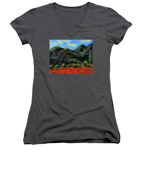 Women's V-Neck T-Shirt featuring the painting Kings Canyon Fall Colors by Walter Fahmy