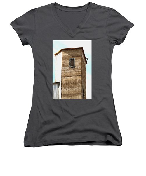 Women's V-Neck T-Shirt featuring the photograph Kingscote Dungeon by Stephen Mitchell