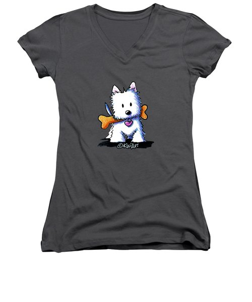 Kiniart Westie With Bone Women's V-Neck (Athletic Fit)