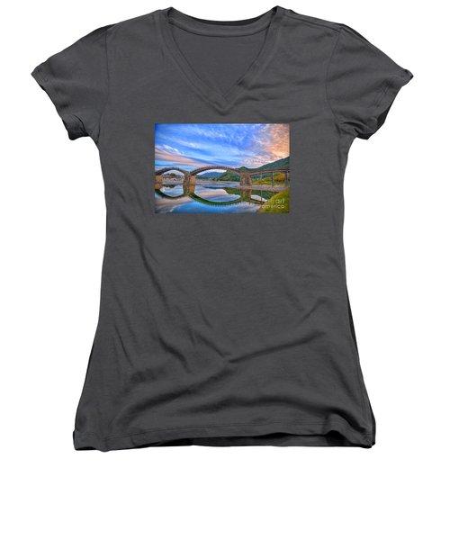 Kintai Bridge Japan Women's V-Neck T-Shirt (Junior Cut) by Rod Jellison