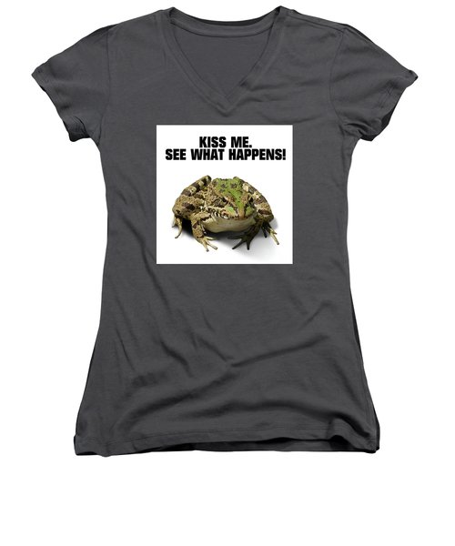 Kiss Me. See What Happens Women's V-Neck T-Shirt (Junior Cut) by Esoterica Art Agency