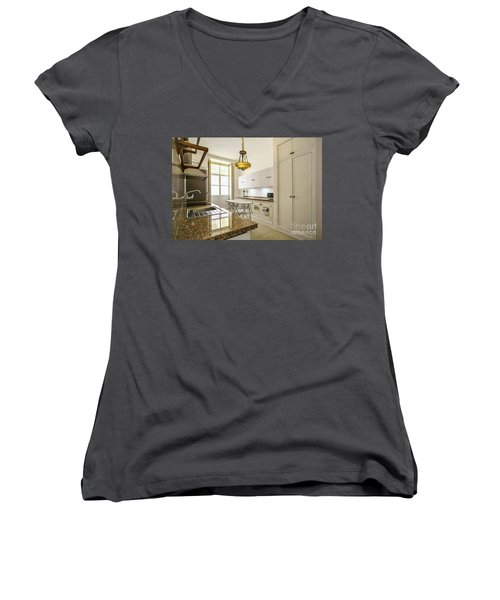 Women's V-Neck T-Shirt featuring the photograph Kitchen Apartment In The Heart Of Cadiz by Pablo Avanzini