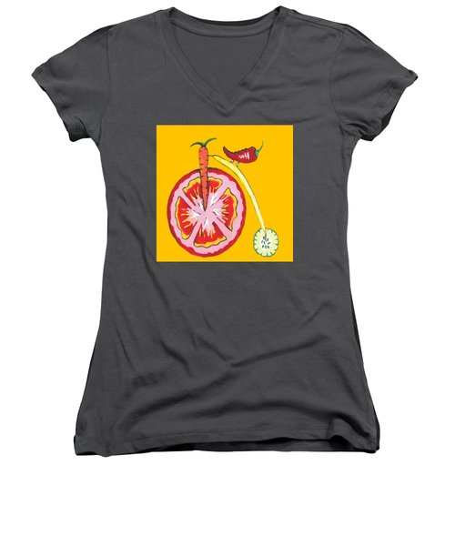 Kitchen Vegetable Art Women's V-Neck T-Shirt (Junior Cut) by Kathleen Sartoris