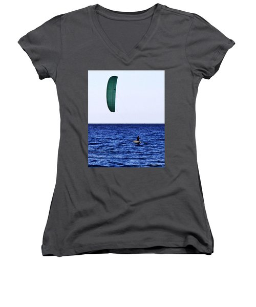 Kite Board Women's V-Neck T-Shirt (Junior Cut) by John Wartman