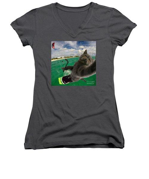 Kite Surfing Cat Selfie Women's V-Neck