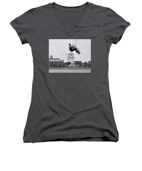 Kitesurfer Catching Air Women's V-Neck T-Shirt (Junior Cut) by Joanne Brown