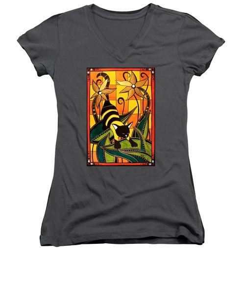 Kitty Bee - Cat Art By Dora Hathazi Mendes Women's V-Neck T-Shirt (Junior Cut) by Dora Hathazi Mendes