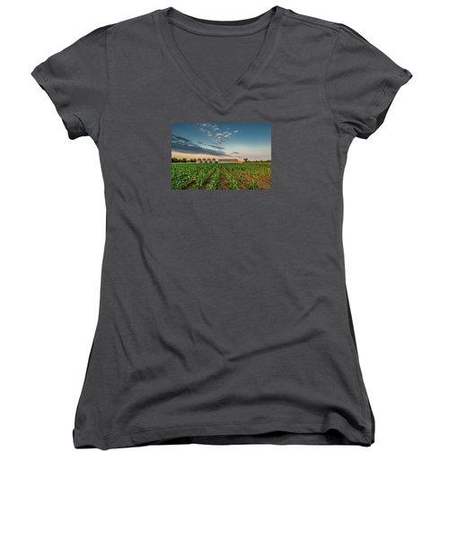 Knee High Sweet Corn Women's V-Neck T-Shirt (Junior Cut) by Steven Sparks