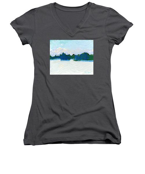 Knife Lake Women's V-Neck T-Shirt (Junior Cut) by Rodger Ellingson