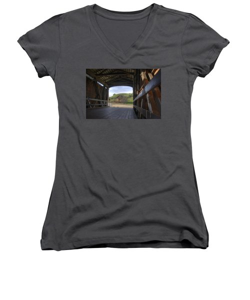 Knights Ferry Covered Bridge Women's V-Neck (Athletic Fit)