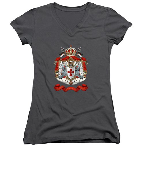 Knights Templar - Coat Of Arms Over Red Velvet Women's V-Neck T-Shirt (Junior Cut) by Serge Averbukh