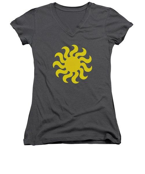 Knitted Sun Women's V-Neck T-Shirt (Junior Cut) by Anton Kalinichev