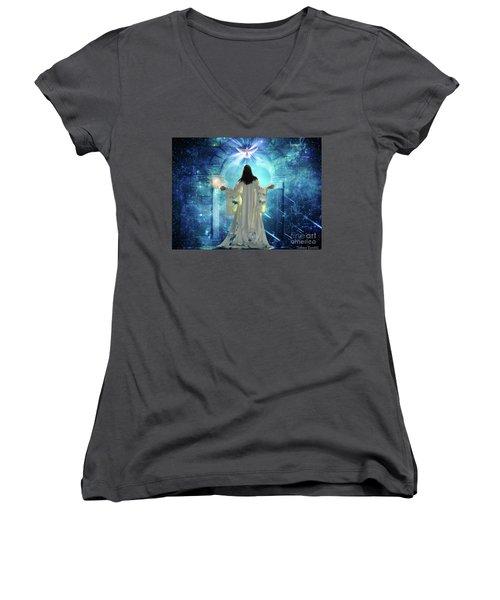 Knocking On Heavens Door Women's V-Neck T-Shirt (Junior Cut) by Dolores Develde