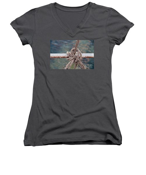 Women's V-Neck T-Shirt (Junior Cut) featuring the photograph Knot Of My Warf by Stephen Mitchell