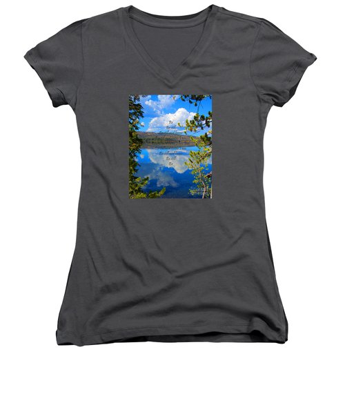 Women's V-Neck T-Shirt (Junior Cut) featuring the photograph Know I Am by Diane E Berry