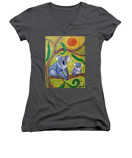 Koala Sunrise Women's V-Neck T-Shirt