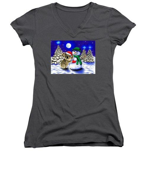 Koala With Snowman Women's V-Neck T-Shirt (Junior Cut) by Remrov