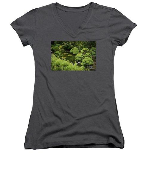 Koi Pond Women's V-Neck T-Shirt (Junior Cut) by Judy Wolinsky