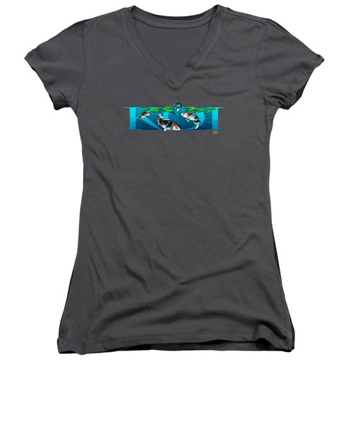 Koi With Type Women's V-Neck T-Shirt (Junior Cut) by Rob Corsetti