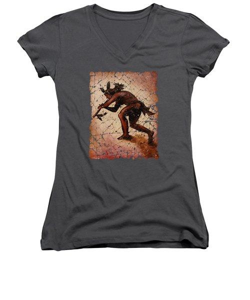 Kokopelli Flute Player Women's V-Neck T-Shirt (Junior Cut)