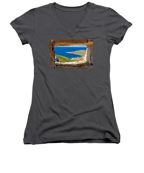 Komiza Bay Aerial View Through Stone Window Women's V-Neck T-Shirt (Junior Cut) by Brch Photography