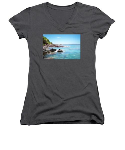 Kona Hawaii Reef Women's V-Neck T-Shirt (Junior Cut) by Joe Belanger