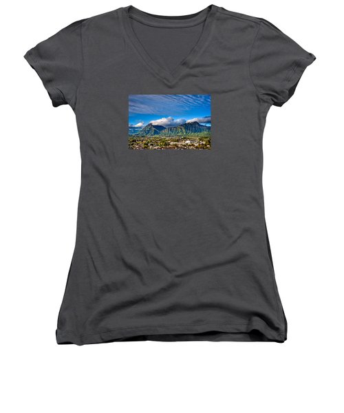 Women's V-Neck T-Shirt (Junior Cut) featuring the photograph Koolau And Pali Lookout From Kanohe by Dan McManus