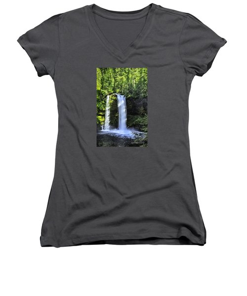 Women's V-Neck T-Shirt (Junior Cut) featuring the photograph Koosa Falls,oregon by Nancy Marie Ricketts